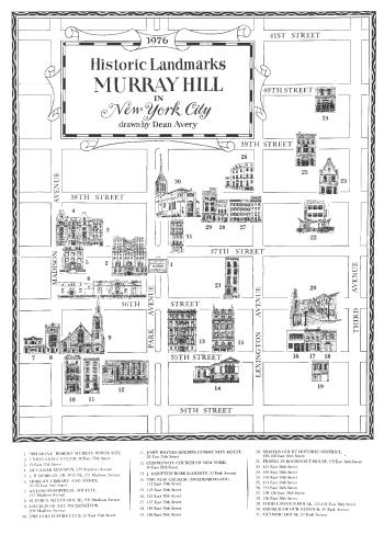 Commemorative Historic Map of Landmarks in Murray Hill