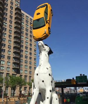Donald Lipski's Spot installed in front of the new Hassenfeld Children's Hospital